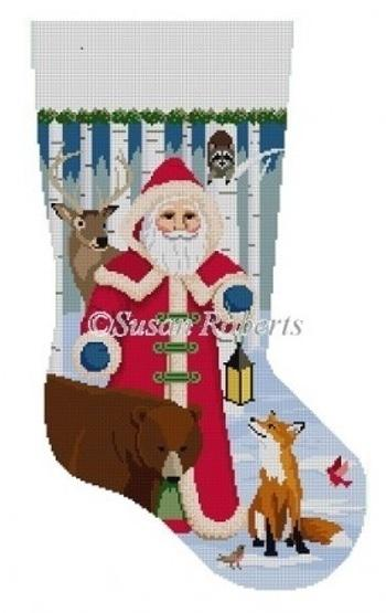 Forest Friends Stocking Painted Canvas Susan Roberts Needlepoint Designs, Inc.