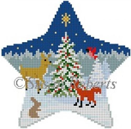 Forest Tree & Animals Star Painted Canvas Susan Roberts Needlepoint Designs, Inc.