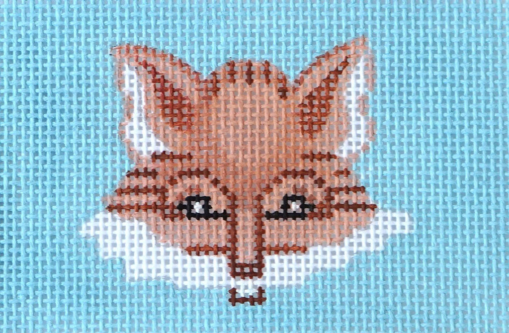 Fox Head on Light Blue Painted Canvas Kate Dickerson Needlepoint Collections