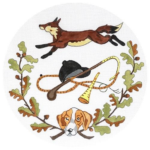 Fox Hunt Plate Painted Canvas The Meredith Collection