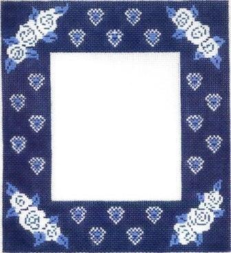 Frame - Blue, White Painted Canvas Cooper Oaks Design