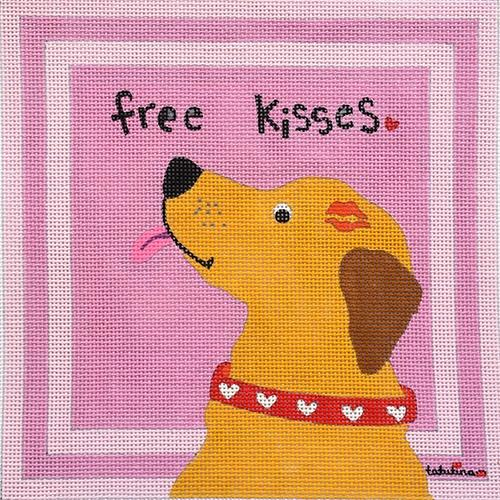 Free Kisses on 18 Painted Canvas Tango and Chocolate