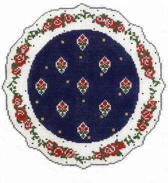 French Plate - Red, Blue, White Painted Canvas Cooper Oaks Design