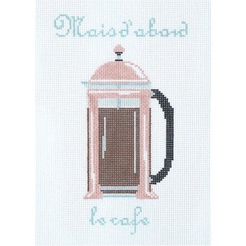 French Press Painted Canvas The Plum Stitchery