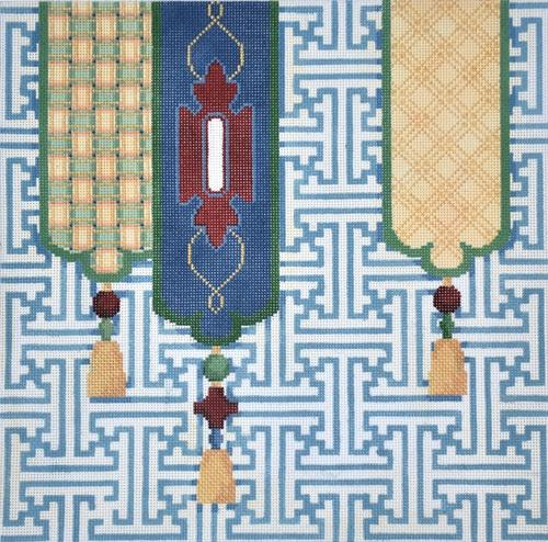 Fretwork Tassels Painted Canvas Associated Talents