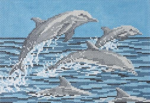 Frolicking Dolphins on 13 Painted Canvas Needle Crossings
