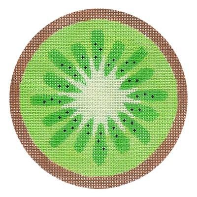 Fruit Coaster - Kiwi with Stitch Guide Painted Canvas Needlepoint.Com