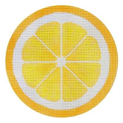 Fruit Coaster - Lemon with Stitch Guide Painted Canvas Needlepoint.Com