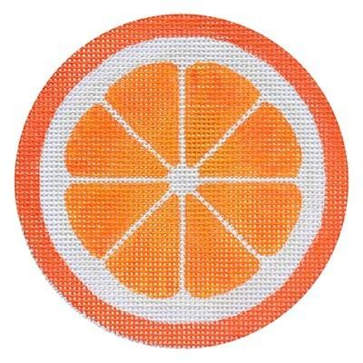 Fruit Coaster - Orange with Stitch Guide Painted Canvas Needlepoint.Com
