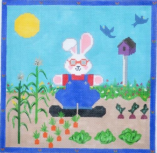 Gardener Bunny with Beads Painted Canvas CBK Needlepoint Collections