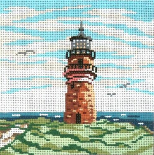 Gay Head Lighthouse (MA) on 18 Painted Canvas Needle Crossings