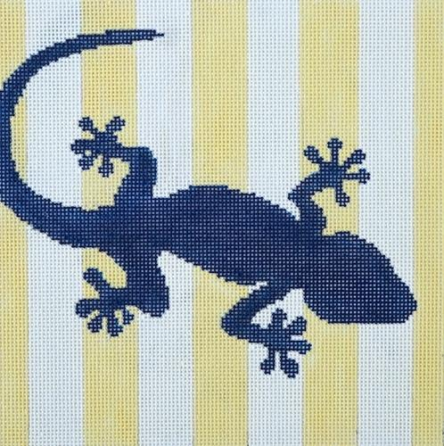 Geckos Stencil / Yellow Painted Canvas Two Sisters Needlepoint