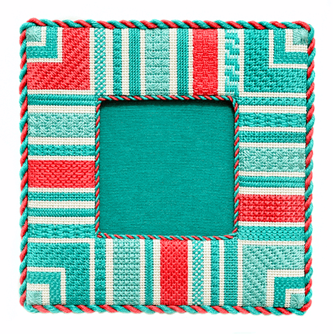 Geometric Frame - Seafoam BB Kits Needlepoint.Com