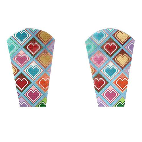 Geometric Hearts Scissors Case Painted Canvas The Meredith Collection