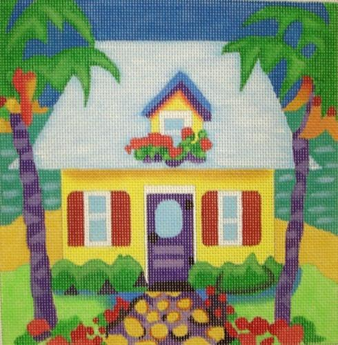 Geranium Yellow Cottage Painted Canvas Susan Roberts Needlepoint Designs, Inc.