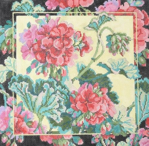Geraniums Painted Canvas CBK Needlepoint Collections