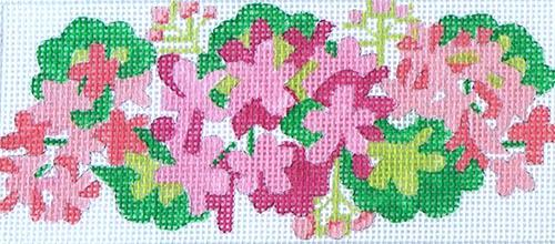Geraniums - Pink & Salmon Painted Canvas Kate Dickerson Needlepoint Collections
