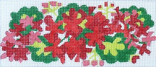 Geraniums - Red & Green Painted Canvas Kate Dickerson Needlepoint Collections