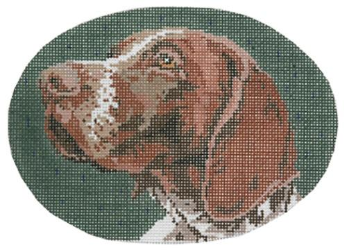 German Shorthair Oval Painted Canvas Barbara Russell Designs
