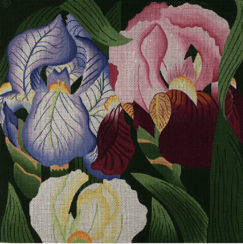 Giant Iris Painted Canvas dede's Needleworks