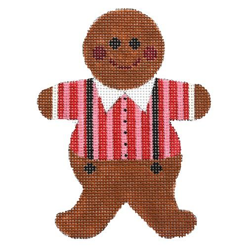 Gingerbread Boy with Red/Pink Shirt Painted Canvas Whimsy & Grace