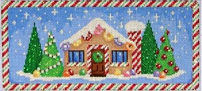 Gingerbread House Cane Chimney Painted Canvas Associated Talents