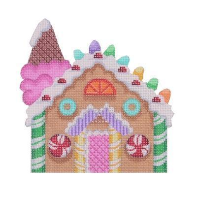 Gingerbread House - Ice Cream Cone Chimney Painted Canvas Burnett & Bradley
