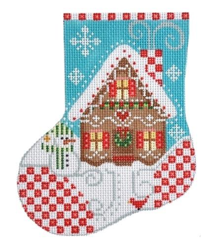 Gingerbread House Mini Stocking Painted Canvas Danji Designs