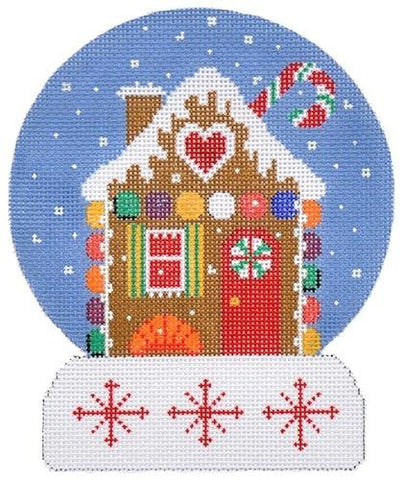 Gingerbread House Snowglobe Painted Canvas Gayla Elliott