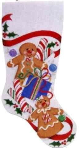 Gingerbread Stocking / Red Painted Canvas Associated Talents