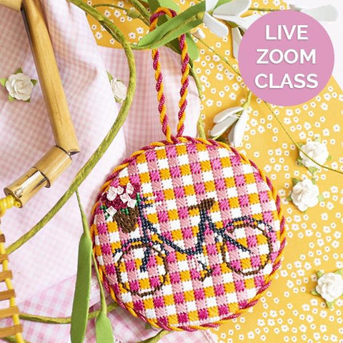 Gingham Bicycle Ornament Kit & Live Zoom Class Online Classes Anne Fisher Needlepoint LLC