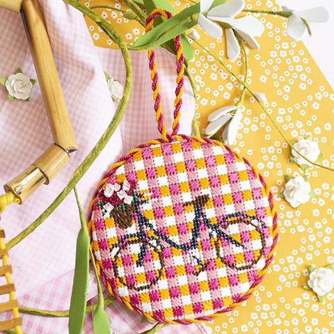 Gingham Bicycle Ornament Kit & Online Class Online Classes Anne Fisher Needlepoint LLC