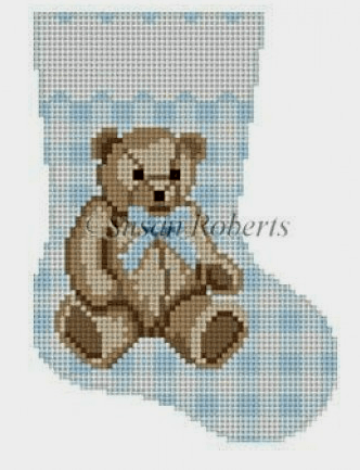 Gingham Teddy Blue Mini Stocking Painted Canvas Susan Roberts Needlepoint Designs, Inc.