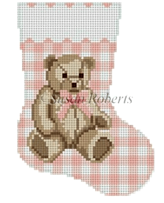 Gingham Teddy Pink Mini Stocking Painted Canvas Susan Roberts Needlepoint Designs, Inc.