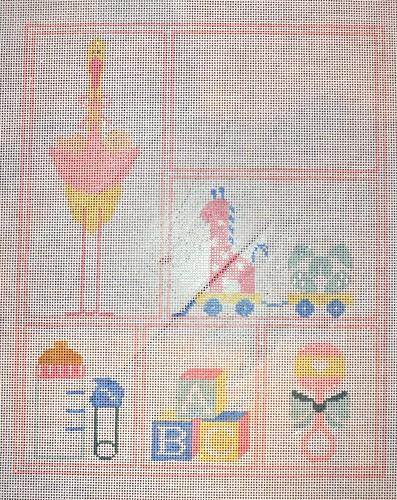 Girl Baby Sampler with Stitch Guide Painted Canvas Kathy Schenkel Designs
