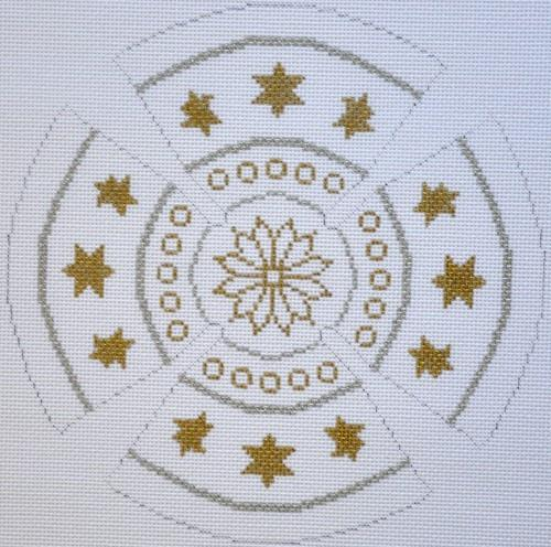 Gold Star and White Petal Yamulke Painted Canvas Susan Roberts Needlepoint Designs, Inc.