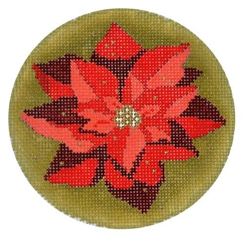 Golden Poinsettia Ornament Painted Canvas Abigail Cecile