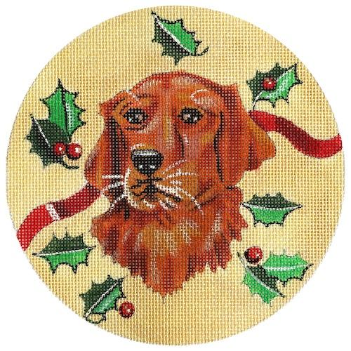 Golden Retriever with Holly Ornament Painted Canvas The Meredith Collection