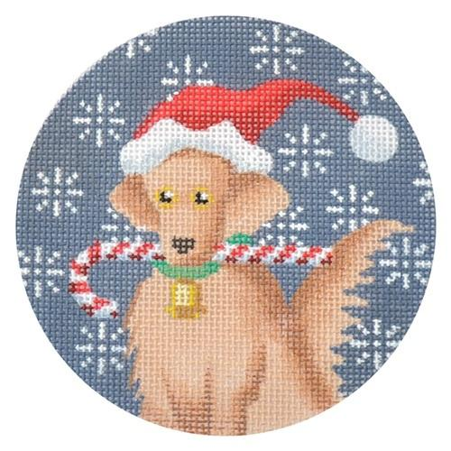 Golden Retriever Xmas Circle Painted Canvas Kirk & Bradley