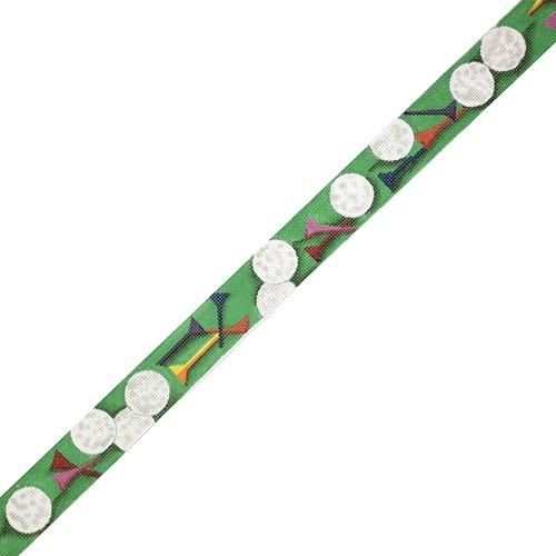 Golf Balls and Tees Belt - Green Painted Canvas The Meredith Collection