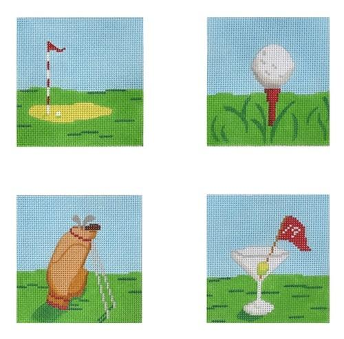 Golf Coasters Painted Canvas Kate Dickerson Needlepoint Collections