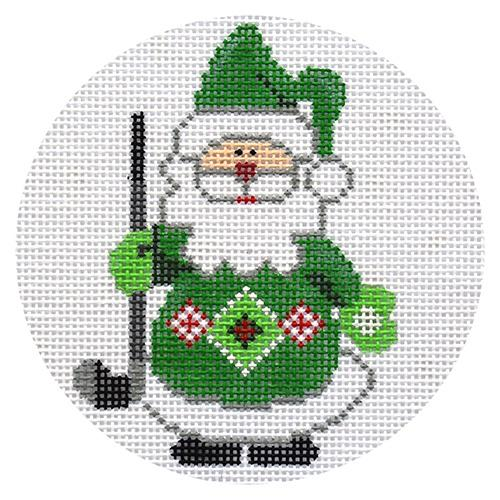 Golf Santa Ornament Painted Canvas Danji Designs