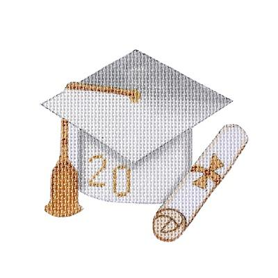 Graduation Cap - White with Year Painted Canvas Burnett & Bradley