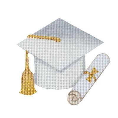 Graduation Cap - White without Year Painted Canvas Burnett & Bradley