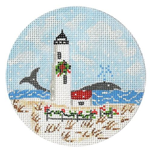 Great Point Lighthouse Ornament Painted Canvas The Plum Stitchery