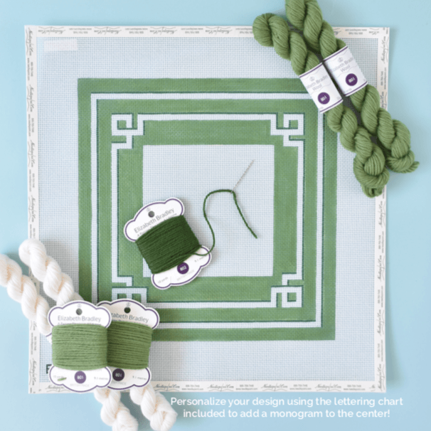 Greek Key Monogram Pillow Kit - Green BB Kits Needlepoint.Com