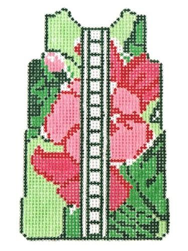 Green Floral Shift on 18 Painted Canvas Two Sisters Needlepoint