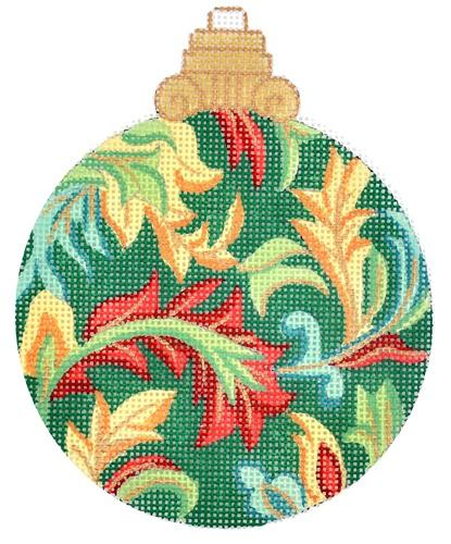 Green Florentine Bauble Painted Canvas Alexa Needlepoint Designs