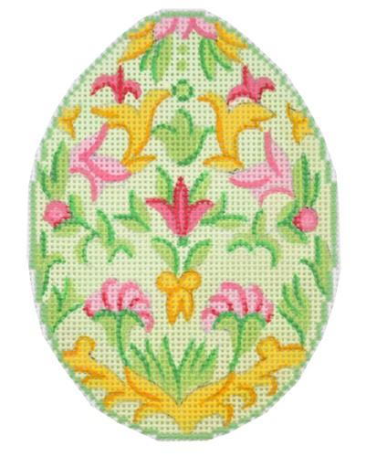 Green Florentine Easter Egg Painted Canvas Alexa Needlepoint Designs