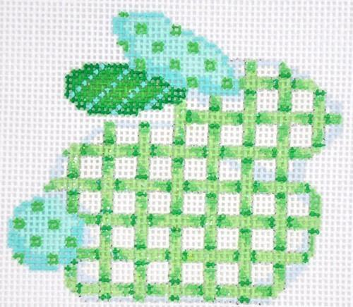 Green Lattice Baby Bunny Painted Canvas Associated Talents